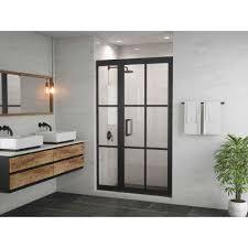 gridscape series 45 75 in x 76 in framed hinge shower door and inline panel