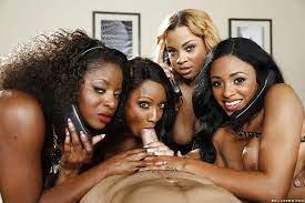 Three Ebony Girls One Guy