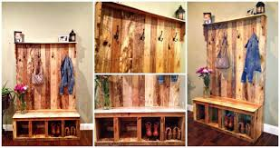 Wooden Coat And Shoe Rack DIY Your Own Pallet Hall Tree Or Pallet Wood Entryway Bench 48