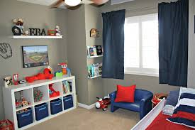 Modern Grey Nuance Of The Bed Room Ideas For Little Boys Can Be Decor With  White Shelves Can Add The Beauty Inside With Blue Curtains Make It Seems  Great ...
