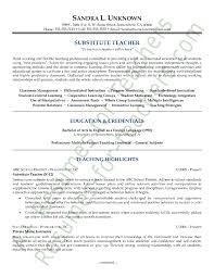 Substitute Teacher Resume Job Description