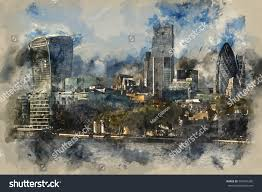 watercolour painting of landscape of city of london iconic landmark buildings