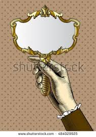hand holding antique mirror. Delighful Mirror Womanu0027s Hand With A Gold Retro Mirror Vintage Stylized Drawing Vector  Illustration With Hand Holding Antique Mirror Shutterstock