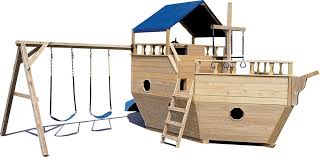 wooden playground equipment small boat with canopy