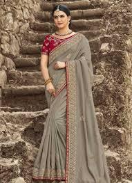 Cutdana Work Saree Designs Buy Crimson And Grey Cutdana Work Traditional Designer Saree