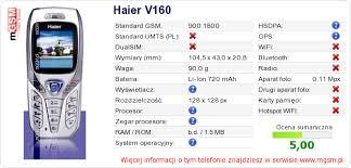 Haier V160 Dane techniczne telefonu ...