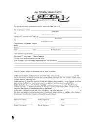 Bill Of Sale For Car Nc All Terrain Vehicle Atv Bill Of Sale Form Eforms Free