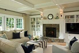 stylish living room comfortable. Warm Cozy Interiors Big And Large Living Room With Fireplace Brown Sofa Inspiring The Stylish Comfortable