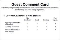 Comment Cards Guest Comment Card
