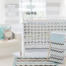 chevron in aqua gray 4pc crib bedding set