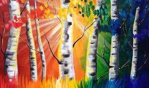 Paint Night Tutorial Rainbow Birch tree's Beginner Acrylic Tutorial ASL -  YouTube
