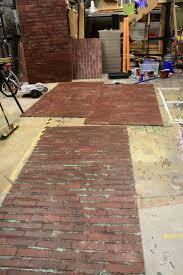 red faux brick flooring