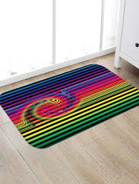 colorful rainbow striped pattern water absorption area rug