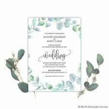 Easy Invitation Templates New Watercolor Eucalyptus Wreath Wedding Invitation Templa