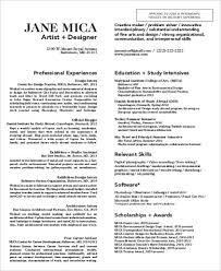 Arts Resumes Sample Art Resume 9 Examples In Word Pdf