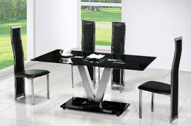 set faux black leather chairs with high back and silver steel legs combined interior rectangle table shape renew glass dining