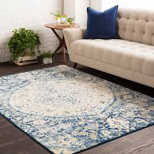 plush oushak blue medallion area rug