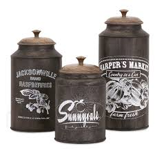 Rustic Kitchen Canister Sets Galvanized Metal Canister Set Rustic Kitchen Decor Country Decor