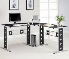 post glass home office desks. L-Shaped Desk With Hutch Home Office : Modern L Shaped Corner Computer Post Glass Desks E
