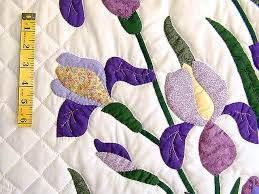 Iris Applique Quilt -- outstanding adeptly made Amish Quilts from ... & ... Purple and Yellow Iris Applique Quilt Photo 6 ... Adamdwight.com