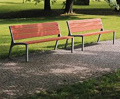 miela bench with aluminium frame and timber seat back