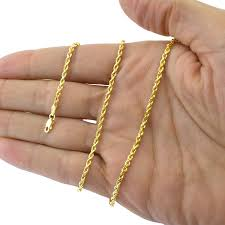 14k Yellow Gold Solid 3mm Diamond Cut Rope Chain ... - Amazon.com