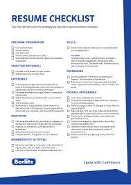 Resume Checklist Berlitz Tip Resume Checklist 8