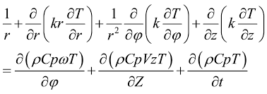 the governing heat conduction equation in case of a rotated workpiece undergoing moving heat source is as following 21 22