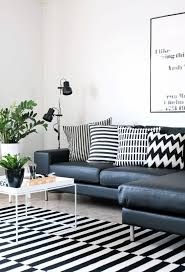 black and white living room with ikea s rug