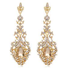 elegant women rhinestone long drop chandelier earrings wedding