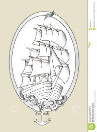 вектор восковки корабля татуировки черно белый иллюстрация вектора
