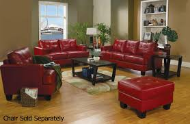 Leather Chairs Living Room Coaster Samuel 501831 501832 Red Leather Sofa And Loveseat Set