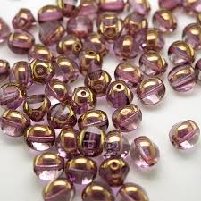 gentle amethyst 8mm tricon cut golden finished fire polished glass bead