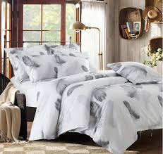 black and white bedding set feather duvet cover queen king size full twin double bed sheets bedspreads quilt linen cotton plume bed in a bag king size