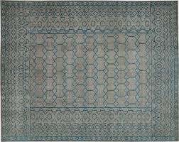 billie hand knotted blue green rug