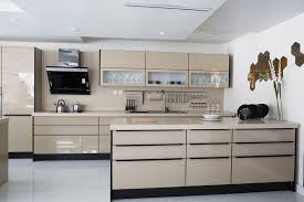 polished tan modern kitchen with glass front cabinets