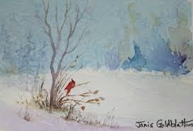 watercolor landscapes for beginners winter scene with cardinal