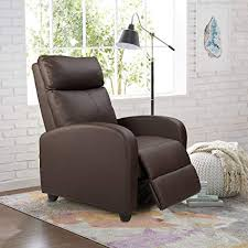 homall manual recliner chair padded pu leather home theater seating modern chaise couch brown lounger sofa