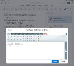 adding an equation to a doent in word for ipad