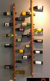 cool and simple wood wall mounted vertical homemade wine rack shelf ideas