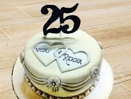 25 Years Fondant Cake The Silver Affection Cake Bakingo