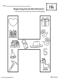 Letter H Beginning Sound Color Worksheet
