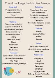 Packing Check List Travel Packing Checklist For Europe Top 7 Essential Things