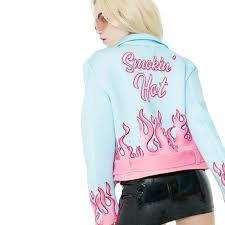 pink flames leather jacket