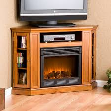 image of small corner tv stand with fireplace