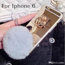 mirror iphone 7 plus case. cool for iphone 6 7 plus luxury furry ball mirror case tpu fur 6s galaxy s7 edge make your own cell phone a