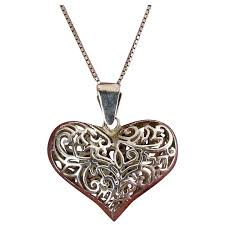 sterling silver large puffy heart pendant on 24 inch silver necklace venus vintage jewelry ruby lane