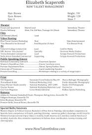 modeling resume template beginners sample resume for professional acting http www resumecareer info