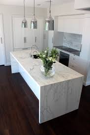 Kitchen Granite Benchtops My Kitchen Carrara Marble Waterfall Benchtop And Splashback