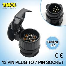 trailer wiring accessories promotion shop for promotional trailer t19195d tirol 13 to 7 pin trailer adapter black plastic trailer wiring connector 12v towing plug n type t19195